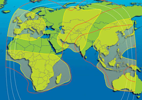 Global satellite footprint diagram