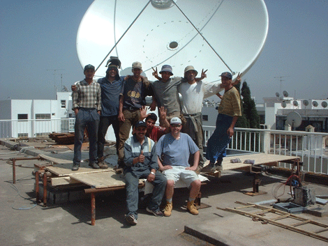 The Datasat team delivering a remote satellite communications network in the Middle Eats