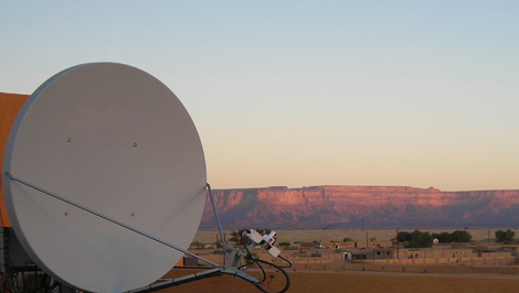 VSAT dish at dawn in the African dawn